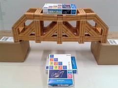 Modular origami truss bridge, load test (ISO_rigami) Tags: origami a4 3d truss bridge modular zebra paper construction
