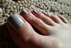 Great holo effect! (toepaintguy) Tags: male guy men man masculine boy nail nails fingernail fingernails toenail toenails toe foot feet pedi pedicure sandal sandals polish lacquer gloss glossy shine shiny sexy fun daring allure gorgeous color club wirth the risque holo holographic silver sparkly sparkles