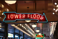 Lower Floor (sarah_presh) Tags: lower floor lowerfloor neon sign neonsign seattle washingtonstate pikeplace pike place market city lights bright colours nikond750 bokeh