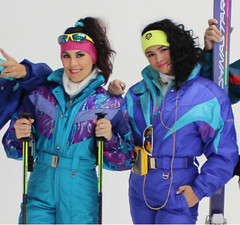 descente teal and blue suits (skisuitguy) Tags: skisuit snowsuit ski snow suit skiing skiwear skifashion skibunny onepieceskisuit onepiecesuit onesie