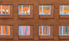Reflected in Windows (Karen_Chappell) Tags: travel window windows reflection architecture square squares building orange brown malmo sweden europe geometry geometric brick bricks city urban reflections