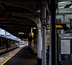 Trains that pass at speed (2) (Peter Leigh50) Tags: pendalino voyager virgin train trains nuneaton platform station railway railroad fujifilm fuji xt10