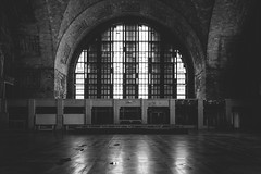 departure. (jonathancastellino) Tags: abandoned derelict decay ruin ruins q bct train station hall window reflection architecture closed water floor buffalo usa ny arcade leica