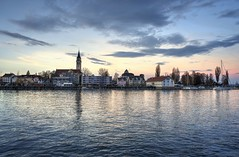 Serene blue hour (PeterThoeny) Tags: bodensee lakeconstance romanshorn switzerland skyline cityscape seascape sky lake water sunset bluehour reflection sony sonya7 a7 a7ii a7mii alpha7mii ilce7m2 fe2870mmf3556oss 1xp raw photomatix hdr qualityhdr qualityhdrphotography city building fav200