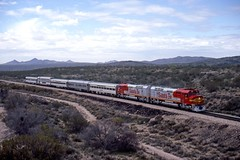 Santa Fe special 101 East to the Grand Caynon leaves Wickenburg, Arizona about the pass under Hwy 93. (DTR CEO) Tags: atsf wickenburg arizona fp45 emd locomotive