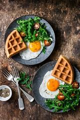 breakfast.... (sonja-ksu) Tags: food breakfast eggs salad waffles arugula tomato healthyeating snack foodphotography