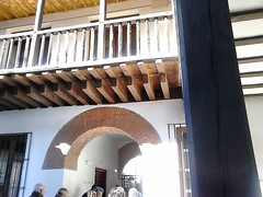 Antezana Hospital, founded 1483, Alcala de Henares , Madrid (d.kevan) Tags: spain madrid alcaladehenares hospitaldeantezana brickwork woodwork decorativedetails details 1483 posts people doorways