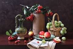 The Feast -Time of the Year (Esther Spektor - Thanks for 12+millions views..) Tags: stilllife naturemorte bodegon naturezamorta stilleben naturamorta composition creativephotography art artisticphoto autumn feast tabletop food frutit apple grape slice cluster berries branch basket pitcher jar napkin plate pottery ceramics linen ambientlight green red yellow brown estherspektor canon coth5