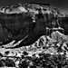 Shadows and Light Cast Across Chimney Rock and Nearby Cliff Walls (Black & White, Capitol Reef National Park)