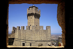 The Second tower rises high above the Adriatic Sea (B℮n) Tags: monumento bartolomeo borghesi universityoftherepublicofsanmarino adriatic sea sanmarino cittàdisanmarino montetitano is land clifftop castlesis enigmatic mysteryis vertiginous views castle slopes mountain republic tourist vacation hills ridge viewpoint clifftops unesco panorama state visiting summer steep trees church palazzopublicco monte titano castellodellaguaita medieval stone wall rooftops cestatower seconda torre 50faves topf50