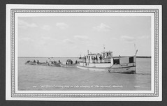 1941    'BETTYLEW' fishing boat on Lake Winnipeg at 'The Narrows' (arbutushilldesign) Tags: 1941 bettylew lakewinnipeg thenarrows manitoba