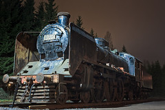 Old Steam Engine (k009034) Tags: 500px trees night old transportation history railroad windows wheels steel number display steam front rails machinery engine bumper mechanical finland scandinavia oulainen teamcanon