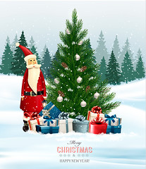 Holiday background with a Christmas tree and presents and Santa Claus. Vector. (everythingisfivedollar) Tags: tree snowfall greeting concept vector holiday template xmas christmas card bow gift abstract snowflake box season claus number forest design color blue winter merry december congratulation banner art background snow party happy present landscape year ribbon 2018