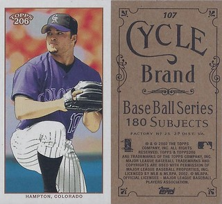 2002 Topps 206 Mini Baseball Card / Series 1 / Cycle - MIKE HAMPTON #107 (Pitcher) (Colorado Rockies)
