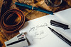 Lamy Safari - Fountain pen (manuel ek) Tags: lamy fountain reservoar pen fine nib petrol charcoalblack black ink paper leather watch writing handwriting oldschool vintage edc manuelekphoto