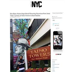 "Don Rimx paints Nuyorican poet Jesus ""Tato"" Laviera at Taino Towers in East Harlem (LoisInWonderland) Tags: rimx donrimx eastharlem nyc tainotowers jesus""tato""laviera muralart streetart pubicart urbanart portrait"