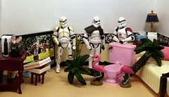 Big Plans on the Death Star (ChicaD58) Tags: dscf1993c starwarsactionfigure actionfigure stormtrooper clonetrooper stormtrooperbruce tk1110 tk432 bigplans thepinktoilet pinkflamingo palmtree tv plant bed pillow tissue napkins lamp endtable pizza colas coffeemaker commemorativedarthbottleofscotch