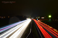 Colors & lines in the night (GraphixMedia.nl) Tags: freeway graphixmedia ilcoeverraert nl nijmegen photographydesign dark lights nightphotography red sky whtie yellow