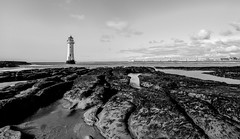 the rock (paul hitchmough photography 2) Tags: perchrock newbrighton wirral landscape lighthouse blackandwhite textures rivermersey seascape rocks paulhitchmoughphotography nikond800 nikon1635mm wideangle clouds