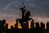 St. George slaying the dragon (lucafabbricesena) Tags: new york united nations george stgeorge dragon statue sunrise manhattan skykraper light nikon d800 backlight