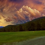 Lake Placid New York  ~  Evening Sunset  ~ Golden Reflection - Adirondack Mountain - Plane Landing Field thumbnail