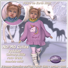 now only 99L for ND/MD Cuties (Alea Lamont) Tags: ndmd kids r us cuties toddlers mesh avatar child children avatars girls winter outfit unicorn sweater dress boots peace earth hunt barberyumyum hair