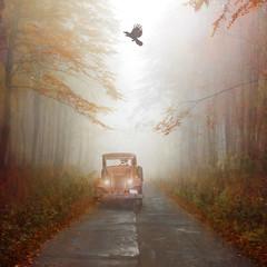 Far away together. (BirgittaSjostedt- away for a while.) Tags: creation road nature car old rost birgittasjostedt fantasy fog forest texture paint mist