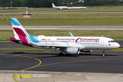 "Eurowings - A320-214(WL), D-AEWM  ""Boomerang Club livery) (Bernd 2011) Tags: eurowings airbus a320 214wl 214 a320214 a320214wl dus daewm eddl taxiing speciallivery canon powershot sx50hs"