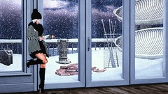 Reluctantly snowed in (Alexa Maravilla/Spunknbrains) Tags: neve theliaisoncollaborative empire collabor88 tetra nomatch hive 6threpublic schultzbros anhelo mien secondlife indoors outdoors snow winter photography people model