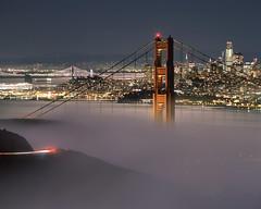 Golden Gate amid the Moonlight Glow (RZ68) Tags: golden gate bridge fog moonlight moon full low bright glowing city skyline san francisco night rz67 velvia provia e100 marin headlands ggnra bay long exposure