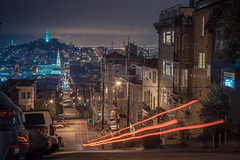 SF street at night (ExceptEuropa) Tags: canon5dmarkii analog ca california canon cinematic city color explore itscd lighttrail longexposure night passingby photographer photography sanfrancisco sf somewhere street streetphotography travel urban usa