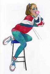 80-s vibes (bogema) Tags: 80s girl fashion sitting bubblegum turkishblue