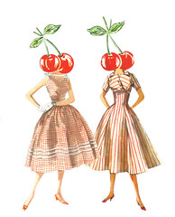 Rockabilly Cherries (dadadreams (Michelle Lanter)) Tags: fruit fruity collageart red cherry cherries rockabilly gingham retrofashion