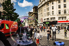 Living In A Bubble (Half A Century Of Photography) Tags: liverpool city street scene red van bubble bubbles england pentax pentaxkr pentaxdal