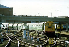 20905 and 20902 on the weedkiller train. Southport 1990. (Mr Corbett's stuff) Tags: 20905 20902 southport weedkiller hunslet barclay class 20