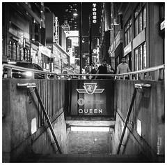 Yonge & Queen (KaushikBiswas28) Tags: 120mm filmphotography kodak downtowncamera iluvtoronto time stilllife fatalframes framedtoronto imagesoftoronto queen streetphotography monochrome urban yonge analog mediumformat midtown 6ix 6ixwalks downtown bw bustle night dark underground subway