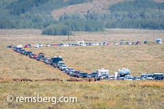 Line of cars await entry into Grand Tetons National Park, Teton County, Wyoming (Remsberg Photos) Tags: eclipse grandteton jackson landscape mountains nationalpark solar tetons west wyoming colorimage grandtetonnationalpark westernusa jacksonhole tourism horizontal outdoors crowded waiting inline traveldestinations transporation car patience crowd busy usa