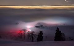 Lights in the fog (Hegglin Dani) Tags: leuchtspuren lightstreams nacht night longexposure langzeitbelichtung nebel fog schweiz switzerland zugerberg zug