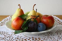 Nevena Uzurov - Fruits (Nevena Uzurov) Tags: stilllife plate lace embrodery handmade cutworkembroidery pears apples plums serbia nevenauzurov