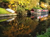 Canal reflections (jeff.dugmore) Tags: england europe uk britain midlands staffordshire southstaffordshire kniver canal waterways water boat barge narrowboat refection autumn gold trees red green grass foliage rural nature outside outdoor countryside olympus staffsandworcestercanal fall walking hike