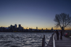 City Skyline at Dusk (Paul B0udreau) Tags: architecture building canada city cityarchitecture d5100 dock lakeontario layer nikkor1855mm nikon nikond5100 ontario paulboudreauphotography people person sky skyline toronto water tripod photographer bluehour bench photoshop