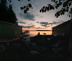 When time stands still (petrisalonen) Tags: clouds night silhuette silhouette dog dreamer finland saimaa lake finnishnature nature digital yellow rocks friends bay sundaylights