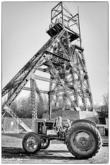 Astley Green Colliery (ChromaphotoUK) Tags: astley green colliery museum lancashire leigh wigan coal mine pit headgear metal iron steel structure vintage tractor mono monochrome bw