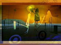 Choices I made / Artist : Romy Nayar (Bamboo Barnes - Artist.Com) Tags: metales romynayar surreal art virtualart digitalart secondlife vivid yellow purple bamboobarnes photomanipulation flower girl wheel brown blue green tan
