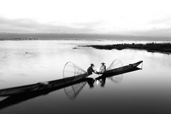 All I could see were dawn butterflies ~ Myanmar (~mimo~) Tags: blackandwhite mytravelgram asia travel reflection fire boats sunrise dawn fishermen lake inle burma myanmar
