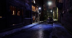 Alley Night Noir (gpholtz) Tags: diorama miniatures 118 diecast 1954 chevrolet