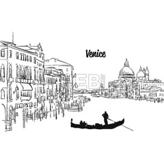 Venice Skyline Panorama (Hebstreits) Tags: architecture attraction basilica building canal card city cityscape cover design drawing drawn engraved etching europe famous gondola greeting hand illustration ink italian italy landmark landscape letter panorama pen silhouette skyline title tourism town travel typo vector venice vintage white