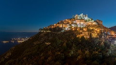 Eze village (mahmoudchakrane) Tags: eze village france frenchriviera lights longexposure blue colors côtedazure mountain sunset sea castle