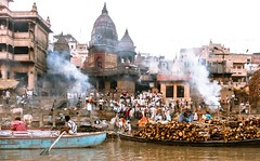 burning ghat (paologmb) Tags: burningghat benares tradition smoke street individuals spirit ganga holy man urban soul varanasi india old creepy death gange river fire spiritual boat funerals