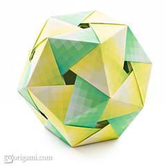 Origami Dodecahedron (Maria Sinayskaya) Tags: 201031 75cmcheckedpattern folded fuseunitorigamiwonderland grimmhobby harmonypaper isbn4817081651 isbn9784817081650 kusudama modularorigami origami origamipolyhedron square tomokofuse
